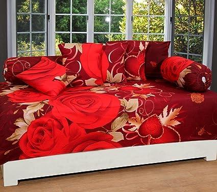 Stop N Shopp Floral Printed Divan Set Maroon Color