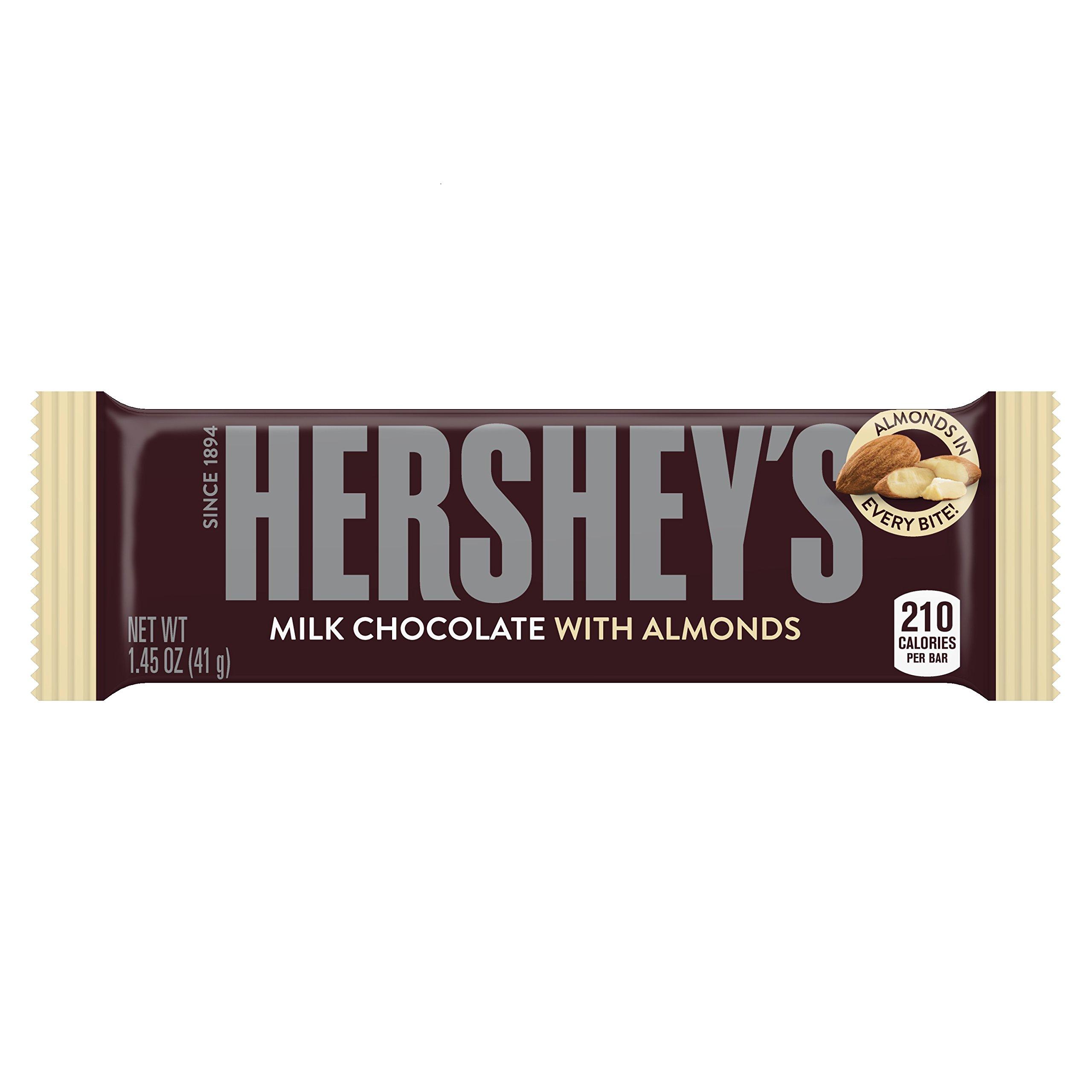 HERSHEY'S Chocolate Bar with Almonds, Milk Chocolate Candy Bar with Almonds, 1.45 Ounce Bar (Pack of 36)