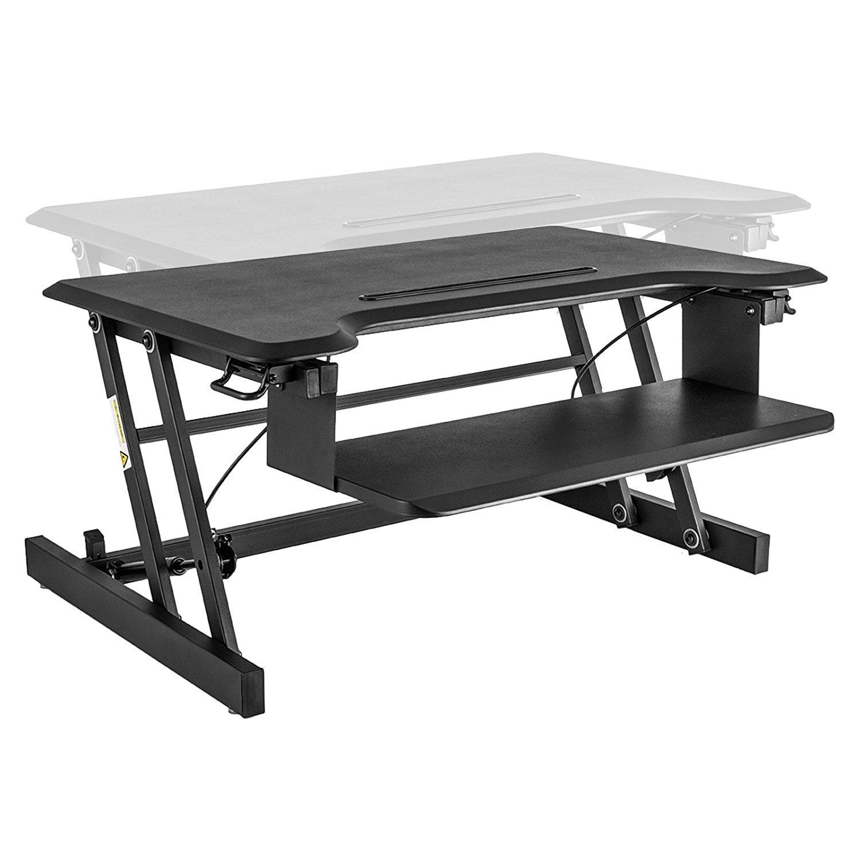 "Superland Height Adjustable Standing Desk 32 x 20 Inch Desktop Tabletop Standing Desk Adjustable Height Sit to Stand Workstation with Tablet Holder Design (32"" x 20"")"