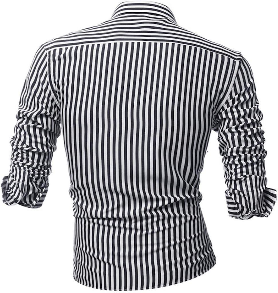 Camisas hombre Rayas de manga larga camiseta de otoño e ...