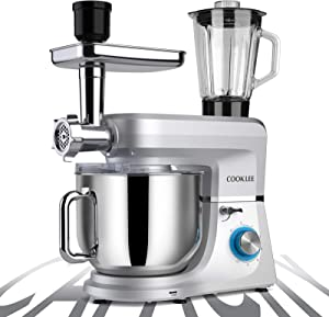 COOKLEE 6-IN-1 Stand Mixer, 9.5 Qt. Multifunctional Electric Kitchen Mixer with 9 Accessories for Most Home Cooks, SM-1507BM, Sliver