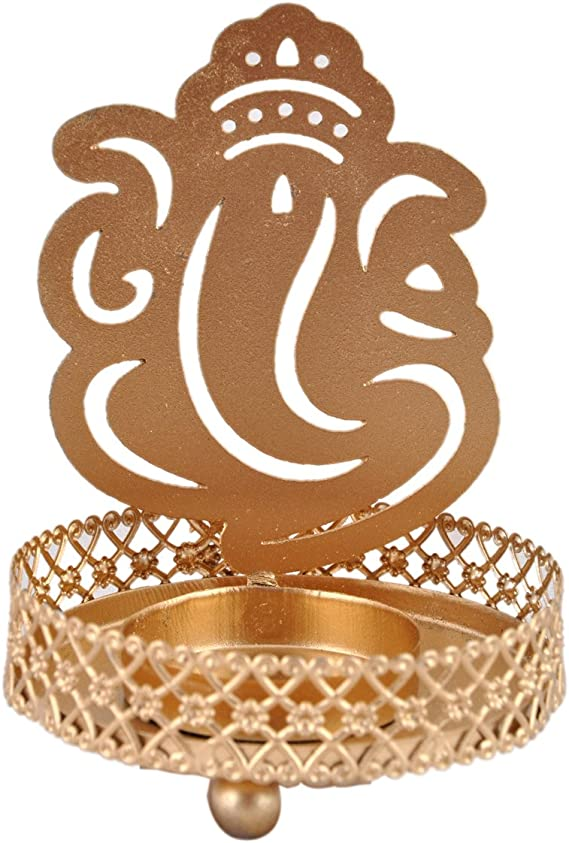 Hashcart Shadow Laxmi Ganesh Tealight Candle Holder Table Decorative Candle Holder