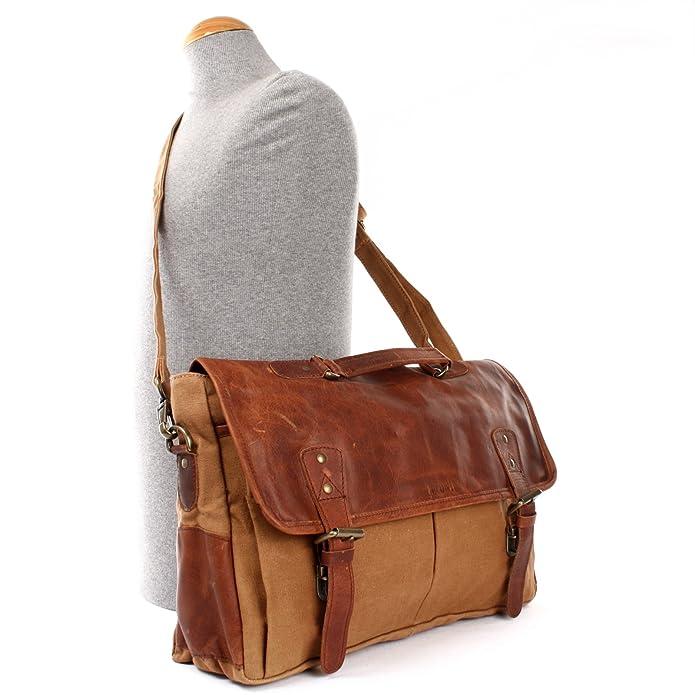 Collegetasche großes Messenger Bag Tasche Arbeitstasche für Herren & Damen DIN A4 Schultasche Umhängetasche aus Leder und Canvas 41x28x13cm braun grün LE3018-C Leconi E3AABjc