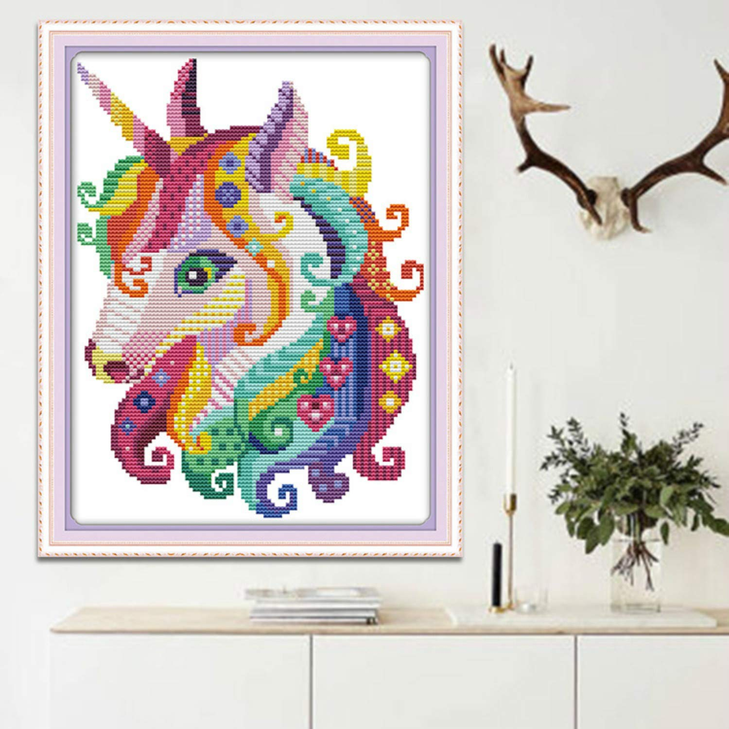 Stamped Horse29x26cm Premium Stamped Cross Stitch Kits with Pre-Printed Patterns for Beginner Kids Adults Cross-Stitch Stamped Kits Embroidery Crafts Needlepoint Starter Kits for Home Wall Decor