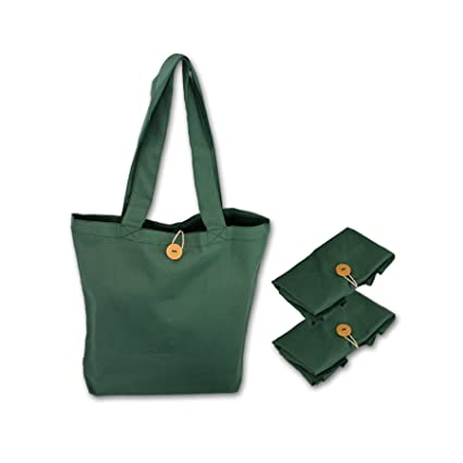 5fc39b0bd Simple Ecology Organic Cotton Reusable Folding Tote with Loop   Button  Closure - Green 3 Pack