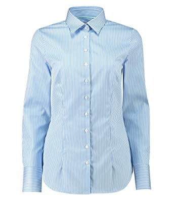 0efdd911b4b5e9 HAWES & CURTIS Womens Executive Bengal Stripe Fitted Inner Collar Office Stylish  Shirt Top, ...