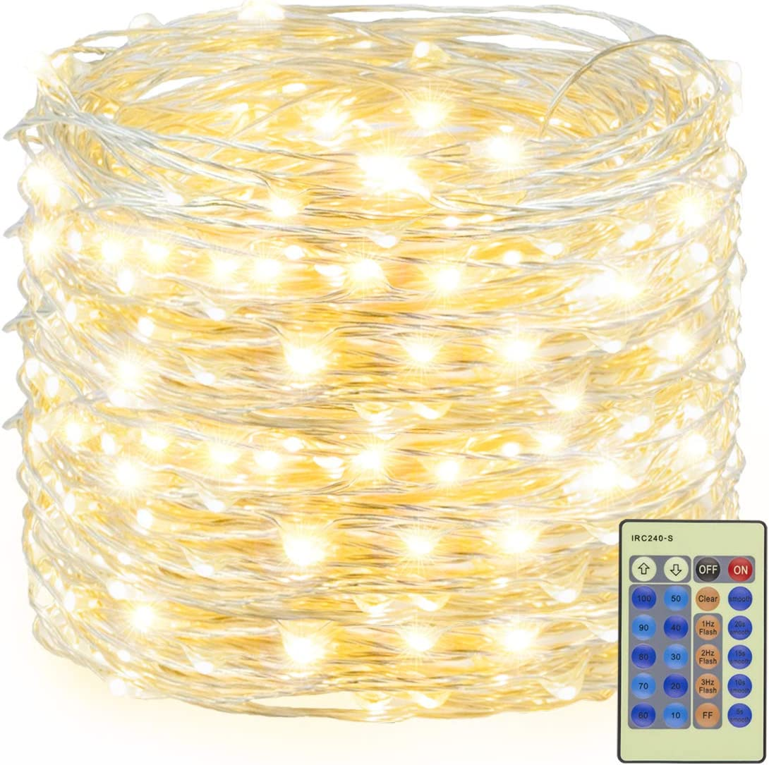 Decute 300 LED Fairy String Lights Warm White Christmas Lights Remote Control, 99ft Silver Wire Firefly Lights Starry Light for DIY Christmas Tree Costume Wedding Party Table Centerpiece Decor