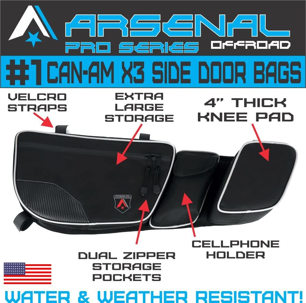 Arsenal Pro 4 Door Bag Kit for Can Am Maverick X3 2017 2020 Passenger /& Driver Side Dual Storage Bag with Knee Protection Rear Bags 4PC