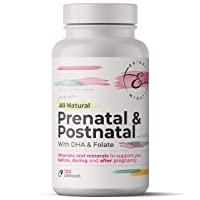 Bright & Mighty All-Natural Prenatal + Postnatal - All-in-One Multivitamin with DHA and Folate - 120 Count (Packaging May Vary)