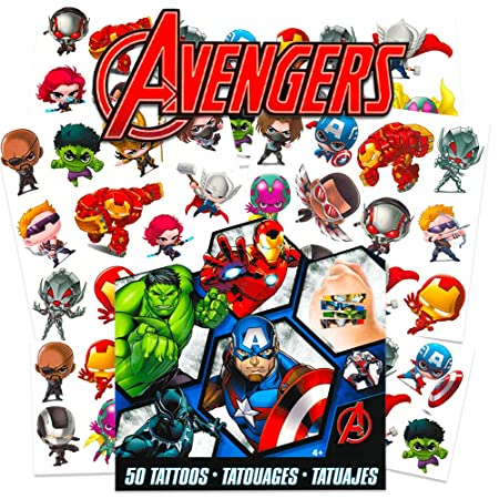 Tatuajes temporales de Marvel Avengers para niños (vengadores ...
