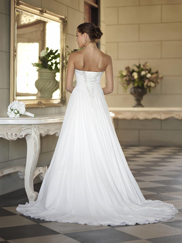 WeddingDazzle Womens Sweetheart Sleeveless Wedding Dress with Beading Bridal Dress