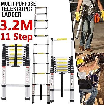 Telescópica Escalera multiusos 3,8 m aluminio extensión ampliar Rolling Medidas 150 kg: Amazon.es: Bricolaje y herramientas
