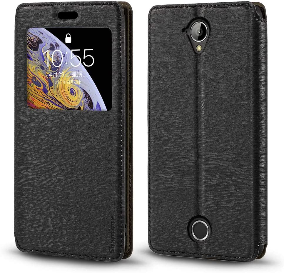 Acer Liquid Z330 Case, Wood Grain Leather Case with Card Holder and Window, Magnetic Flip Cover for Acer Liquid Z330