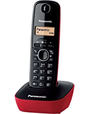 Panasonic KX-TG1611JTR Telefono Cordless DECT Singolo con Base Montabile a Parete, Nero/Rosso