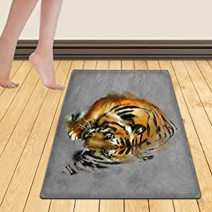 WelFriday custom door mats 115259683 painting a tiger on the wall,W18 x L29 inch