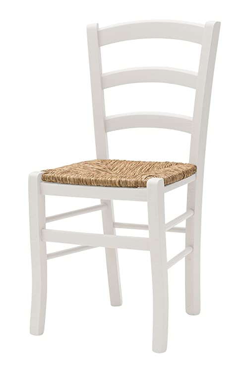 Sedia in legno, bianca, Stile Shabby Chic, Modello Cuore