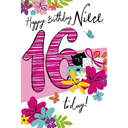 Niece 16th Happy Birthday Card 16 Today Amazon Office Products