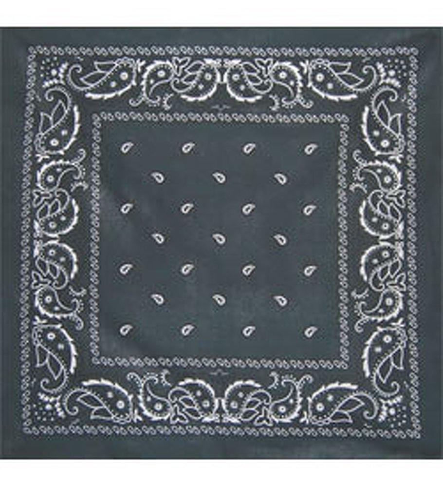 Bandanas By The Dozen 100% Cotton 12-Pack 22'' x 22'' - Paisley Charcoal by Bandanas By The Dozen (Image #1)