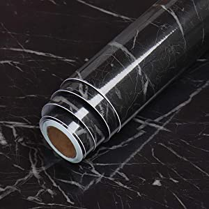 LaCheery 15.8x79in Faux Marble Contact Paper Peel and Stick Wallpaper for Cabinets Backsplash Shelf Liner Dresser Furniture Decorative Black Marble Adhesive Film Removable Granite Countertop Sticker