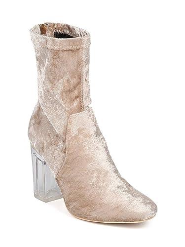 Women Velvet Block Heel Boot - Lucite Heel Bootie - Sock Boot - GI38 by