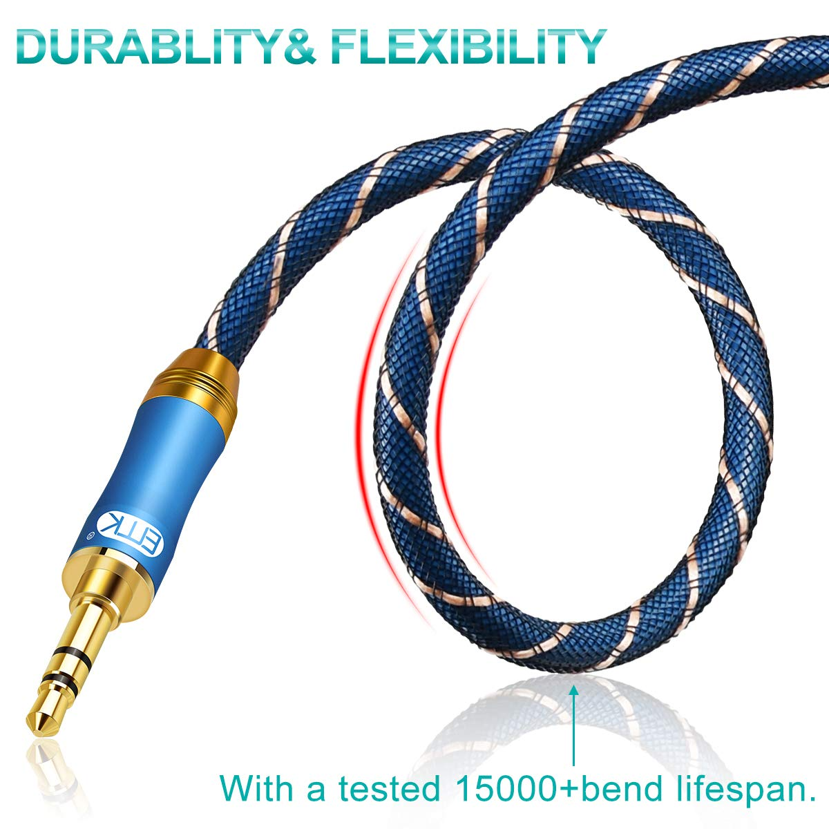 Blue 15cm Aux Stereo Audio Cable,EMK 3.5mm Nylon Braided Auxiliary Audio Cable