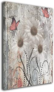 Okoart Art-Logo Daisy Flowers Butterflies Farmhouse Coral Brown Rusitc Modern Canvas Prints Pictures Painting Home Decoration Wall Decor Ready to Hang 16x20in