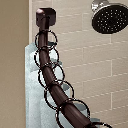AF Rod Decor 1quot Curved Shower Curtain Expandable From 41 To 72