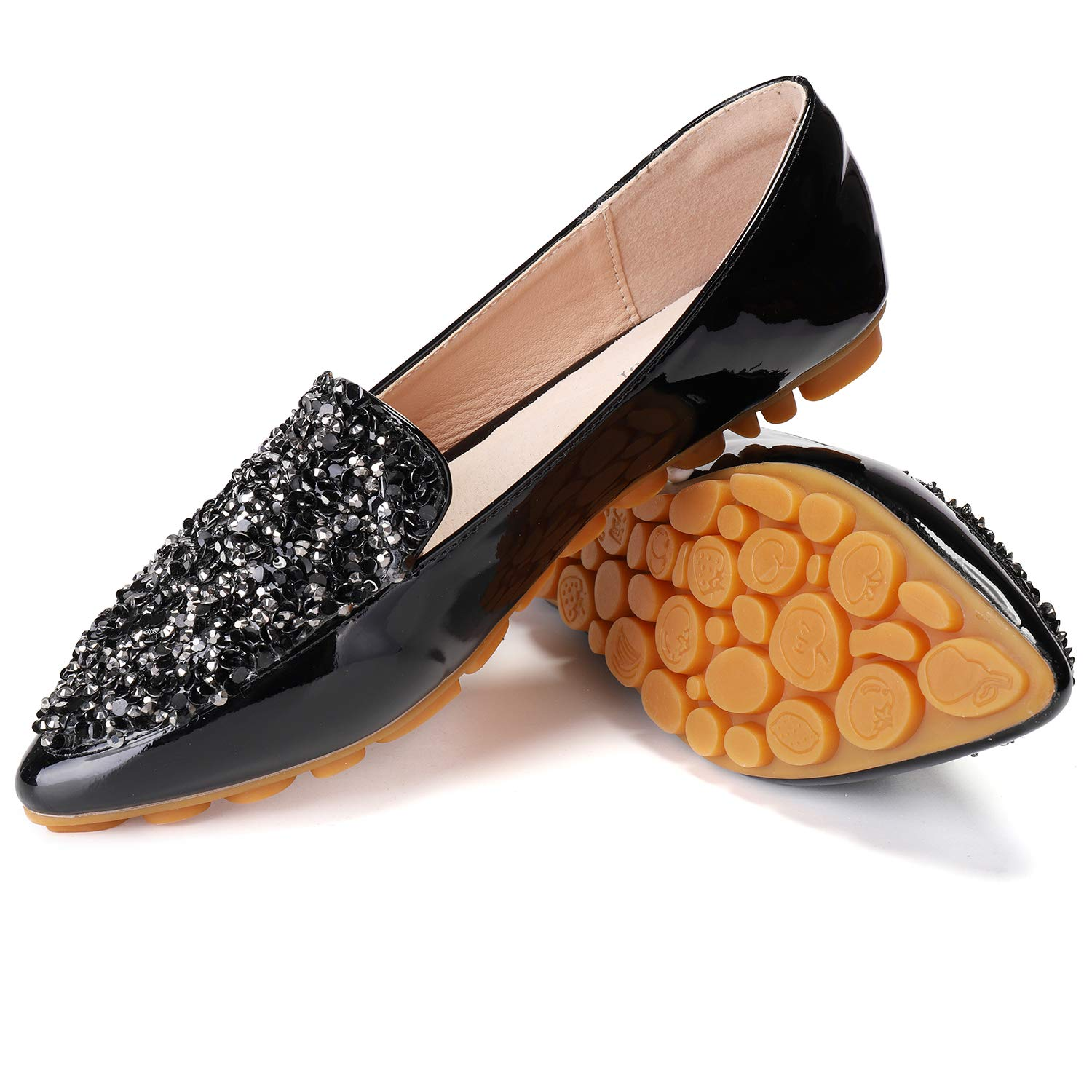 Cattle Shop Flats for Women Rhinestone Pointed Toe Sequins Glitter Loafers Flat Shoes
