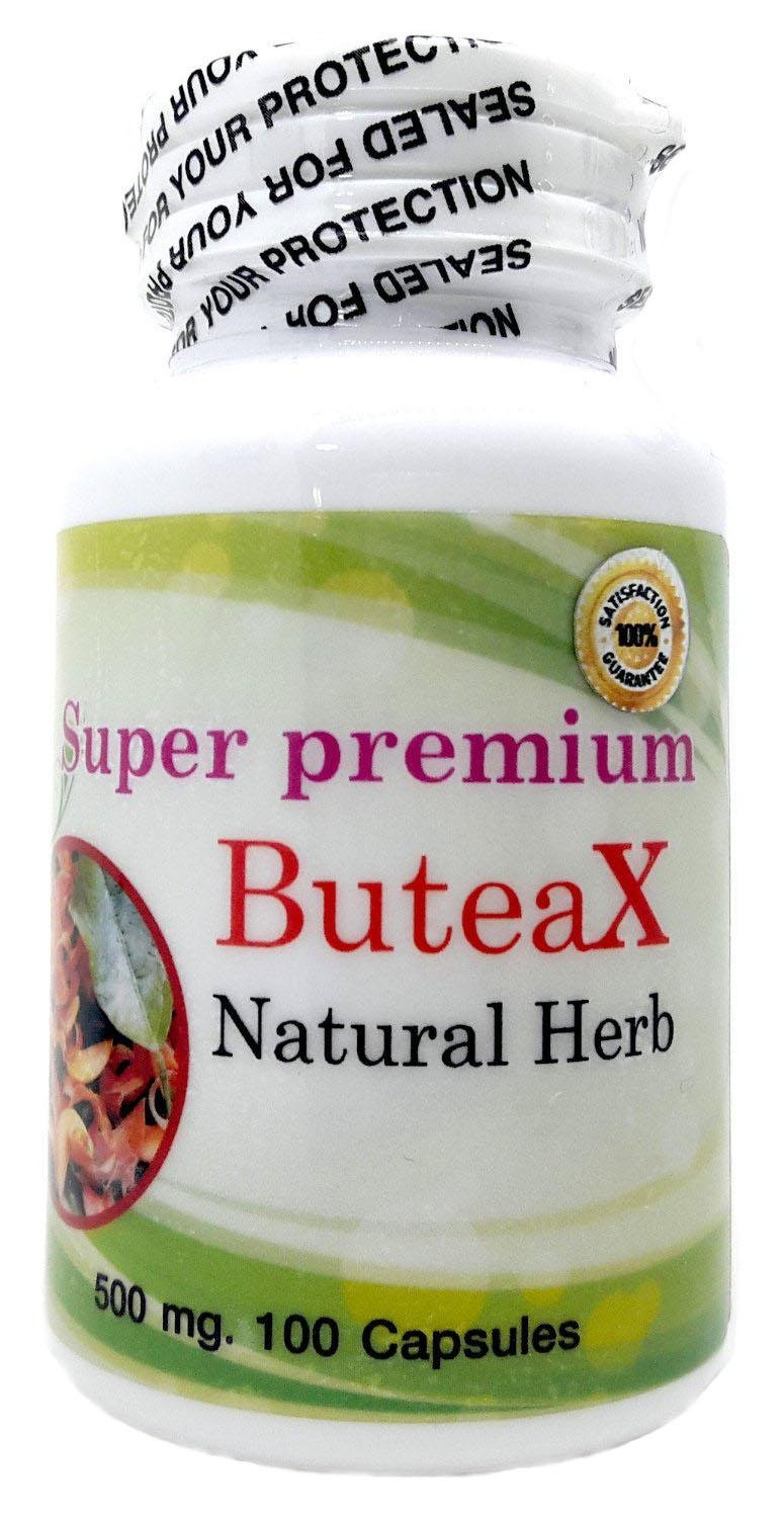 Super Premium ButeaX 500mg. 100 Vegetarian Capsules Highest Grade Butea Superba Natural Herbal Root Powder Extract