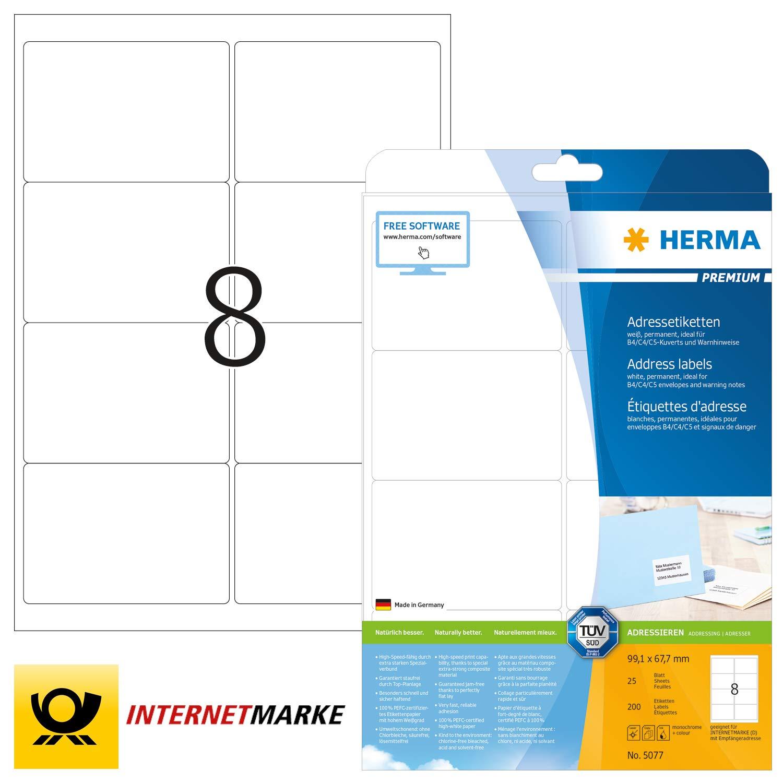 99.1 x 67.7 mm color blanco A4 99,1 x 67,7 mm Herma 4269/_ A4 Pack de 800 etiquetas de direcci/ón