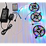 Firstsd 15M 49.2ft Non-Waterproof Flexible Color Changing RGB SMD3528 LED Light Strip DIY Christmas Holiday Home Car Bar Indoor Party Decoration + Remote music controller IR+12V 5A Power Supply