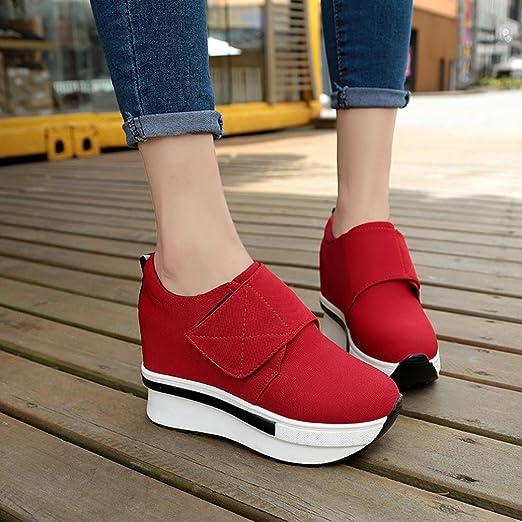 Liquidación! Covermason Mujer Moda Cuñas Botas Zapatos de plataforma Slip On Botines Moda Zapatos casuales(39 EU, rojo): Amazon.es: Ropa y accesorios