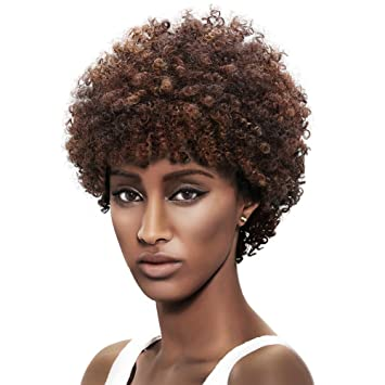 Afro 5\' Short Curly Wigs with 100% Brazilian