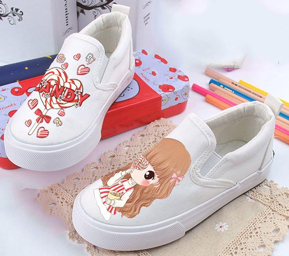 VECJUNIA Girls Cartoon Elastic Low Top Durable Slip-on Flats Shoes