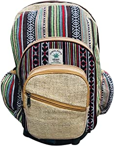 100% Natural Hemp Canvas Backpack with Laptop Sleeve - Fashion Cute Travel School College Shoulder Bag / Bookbags / Daypack