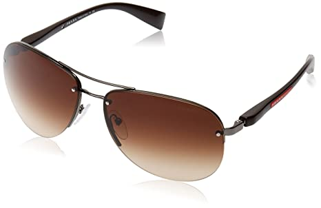 6666df7dc4 Image Unavailable. Image not available for. Colour  Prada Men s Gradient Linea  Rossa PS56MS-5AV6S1-65 Brown Aviator Sunglasses