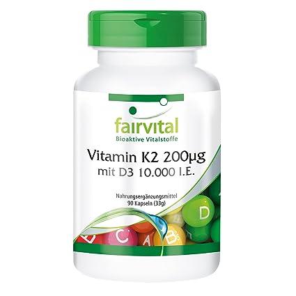 Vitamina K2 200 mcg con D3 10000 IU Depot - Bote - Alta dosificación - 90