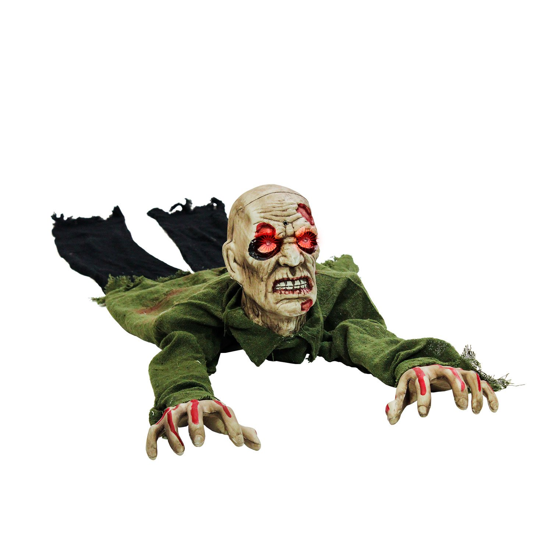 Halloween Haunters Animated Crawling Zombie Groundbreaker Graveyard Prop Decoration Light Up Eyes