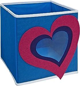 "SystemBuild Children's Playroom Kids Toys Organizing 11"" x 11"" Character Fabric Drawer/Storage Bin (Ladybug) (Heart)"