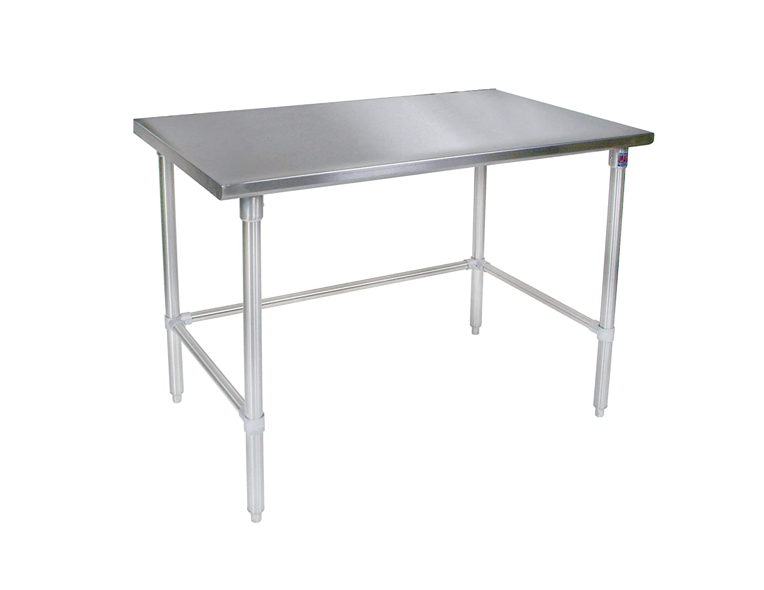 John Boos ST6-3648SSK 16 gauge Stainless Steel Work Table with Stainless Steel Base and Shelf, 48