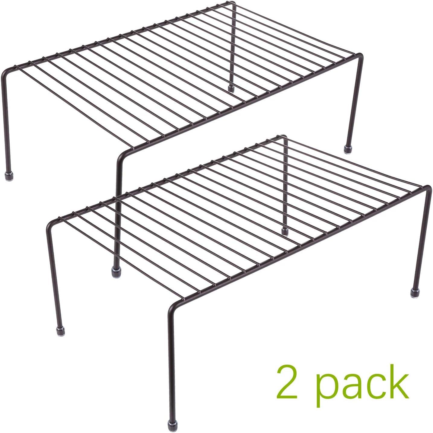 2 Pack - Kitchen Storage Shelf Rack w/Plastic Feet - Medium - Steel Metal - Rust Resistant Finish - Cups, Dishes, Cabinet & Pantry Organization [Bronze]