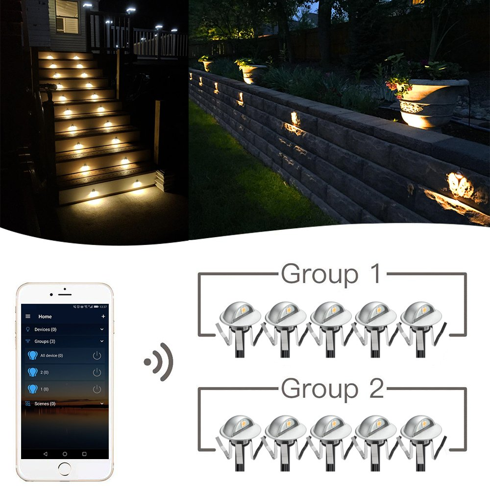 WiFi Deck Lights, FVTLED WiFi Controlled 20pcs Low Voltage LED Deck Lights Kit Φ1.38'' Outdoor Recessed Step Stair Warm White LED Lighting Work with Alexa Google Home, Silver by FVTLED (Image #7)
