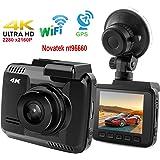 """DashCam,Autokamera DVR Dashboard-Kamera Rekorder mit 4K FHD,eingebautes Wifi & GPS, App- Support, G-Sensor, 2.4"""" LCD-Display 150 Grad Weitwinkelobjektiv Schleifen-Aufnahme Nachtsicht … (4K 02)"""