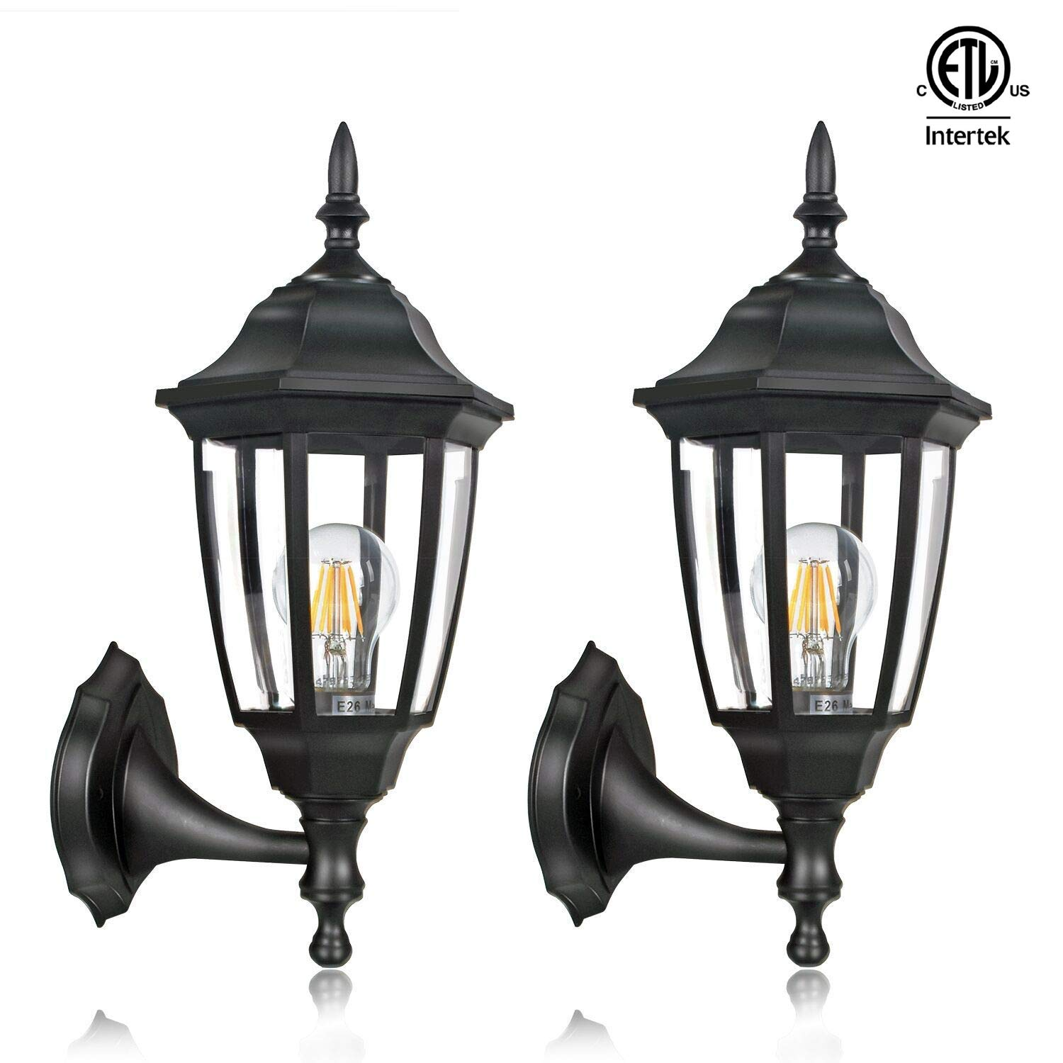 FUDESY 2-Pack Outdoor Wall Lanterns,Corded-Electric 12W Plastic LED Exterior Wall Lights,Waterproof Retro Black Porch Light Fixture Wall Mount for Garage,Yard,Front Door,Deck,FDS341B2 by FUDESY (Image #1)