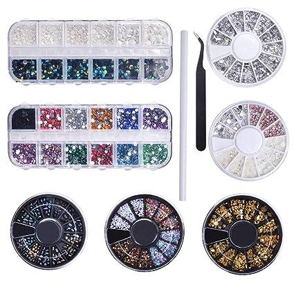 Biutee Nail Art 7 Cajas Diamantes Decoracion para Uñas Kit Piedras Decorativas con 1pcs Selector y