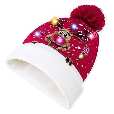 UNICOMIDEA - Gorro de Navidad Unisex con Luces LED y 6 Luces ...