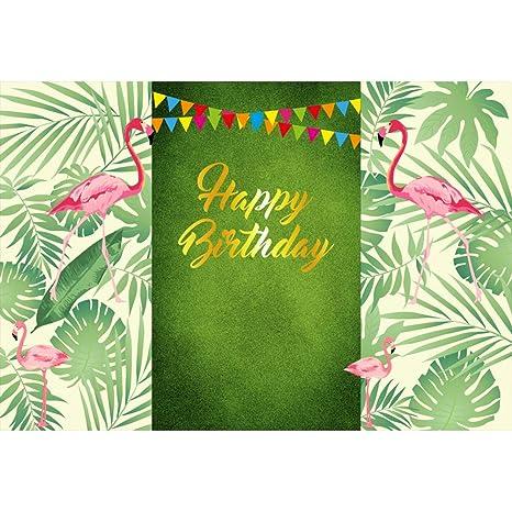 OERJU 3x25m Feliz cumpleaños Fondo Tropical Hojas de árbol ...
