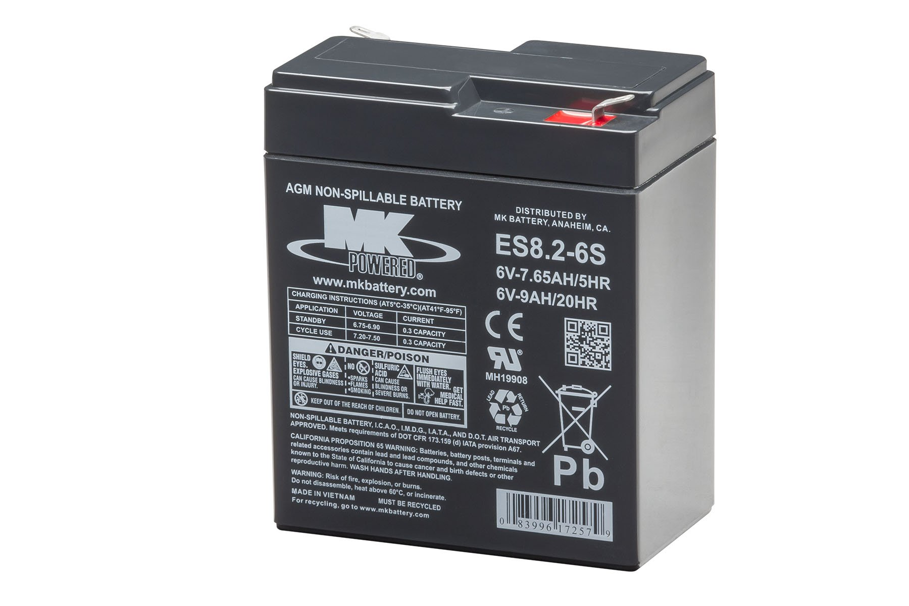 MK Battery ES8.2-6S Maintenance-Free Rechargeable Sealed Lead-Acid Battery