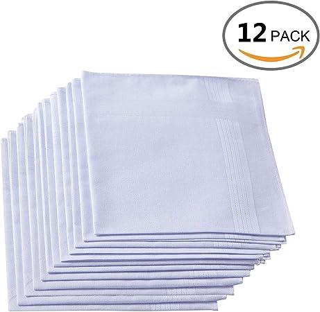 Faustine Pañuelos de algodón | Pack de 12 | Color Blanco ...