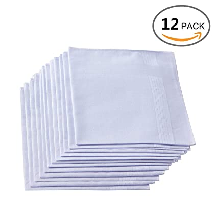 Faustine Pañuelos de algodón Pack de 12, Pure Color Blanco Bolsillo Cuadrado Hankies/pañuelo de Bolsillo para Hombres